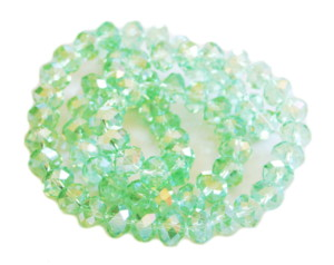 Green AB glass string, 12mm, rondelle, 60cm