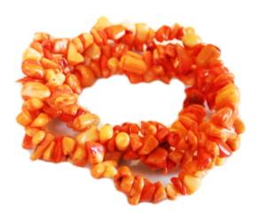 Orange coral chip string, 6-10mm, 80cm