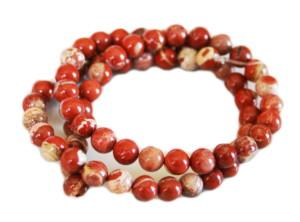 Cappuccino Red Jasper bead string, round, 6mm, 40cm