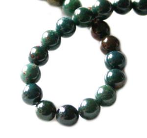 Bloodstone bead string, round, 8mm, 40cm