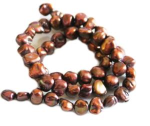 Chocolate freshwater pearl string, freeform, 8-10mm, 35cm