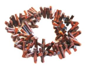Red Tiger Eye bead string, cylindrical sticks, 5x18mm, 40cm
