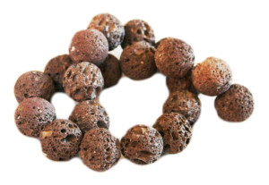 Brown Lava bead string, round, 20mm, 40cm
