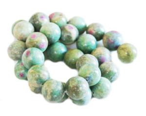 Ruby in Fuchsite bead string, 14mm, Round, 40cm