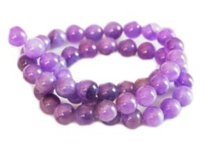 Purple colored quartz bead string, 8mm, Round, 40cm