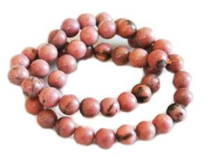 Rhodonite bead string, round, 8mm, 40cm