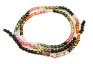 Rainbow Tourmaline bead string, 3mm, round, 40cm