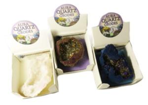 Aura Quartz geode, assorted, 50-70mm