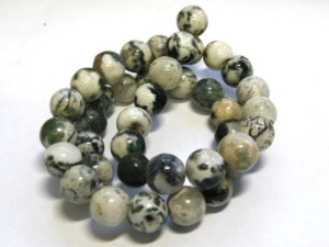 Tree Agate bead string, round, faceted, 8mm, 40cm