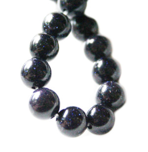 Blue Goldstone bead string, round, 10mm, 40cm