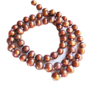 Bronze freshwater pearl string, knotted, round, 6-7mm, 35cm