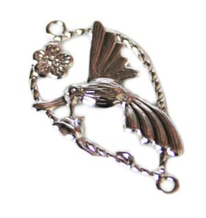 2 x Nickel free bird & flower pendant / spacer, 38mm