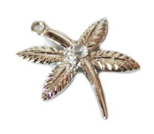 Nickel free flower pendant w rhinestone, 30mm