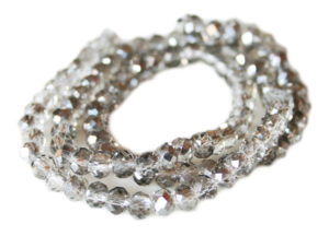 Grey w silver glass string, 5x6mm, rondelle, 45cm