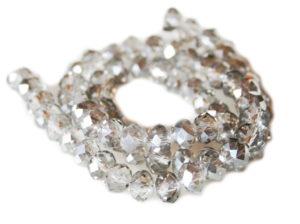 Grey w silver glass string, 6x8mm, rondelle, 45cm