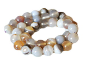 Natural Agate bead string, 10mm, round, 40cm