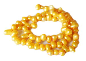 Mustard freshwater pearl string, side-drilled potato, 6-8mm, 35cm