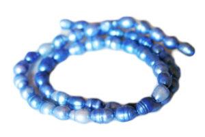 Blue freshwater pearl string, ringed potato, 6-8mm, 35cm