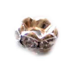 6 x Round wavy rondelle w clear rhinestones, 4mm