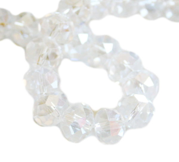 Clear AB glass string, 12mm, rondelle, 60cm