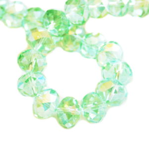 Green AB glass string, 10mm, rondelle, 52cm