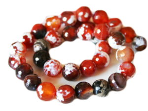 Crackle agate bead string, round, faceted, burnt orange, 10mm, 40cm