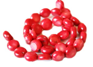 Red coral bead string, 10-12mm, round buttons, 38cm