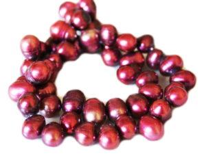 Light burgundy freshwater pearl string, round, ringed, 8-9mm, 35cm