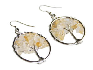 Citrine tree of life earrings, 50mm incl. hook