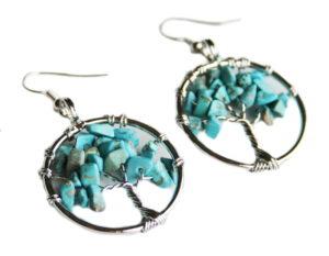 Blue Howlite tree of life earrings, 50mm incl. hook