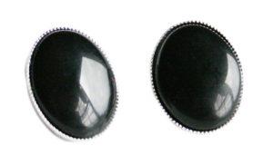 Oval Onyx earrings, clip-on, 20mm