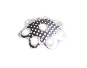 50 x Nickel free daisy bead cap, bright silver, 8mm