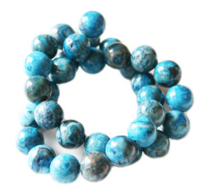 Blue Crazy Lace Agate bead string, dyed, round, 10mm, 40cm