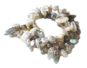 Labradorite tumble bead string, 8x10mm, A-grade, 40cm