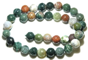 Fancy Agate bead string, 10mm, faceted, round, 40cm
