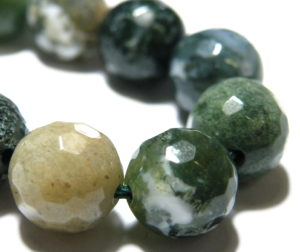 Fancy Agate bead string, 8mm, Round, Faceted, 40cm