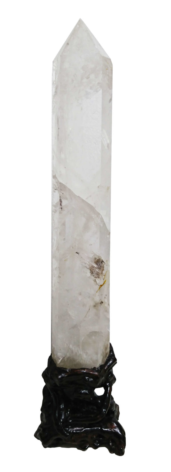 Quartz point on wooden stand, 62cm high