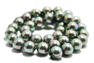 Shell pearl string, metallic mystic black, 10mm, 40cm