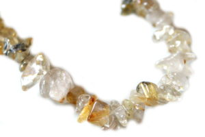 Rutilated quartz chip string, A grade, 80cm