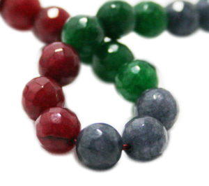 Emerald, Ruby, Sapphire colored Jadeite bead string, round, faceted, 8mm, 40cm
