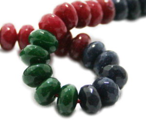 Emerald, Ruby, Sapphire colored Jadeite bead string, rondelle, faceted, 5x8mm, 40cm