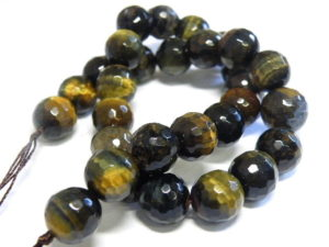 Tiger Eye bead string, round, faceted, 14mm, 40cm