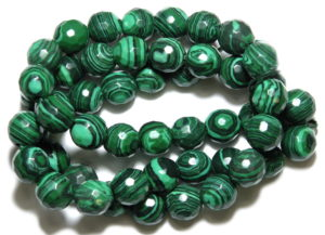 Imitation malachite bead string, round, faceted, 12mm, 40cm
