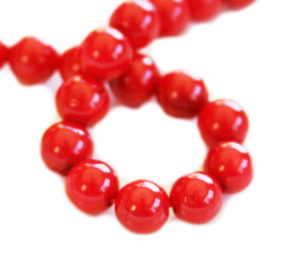 Red coral bead string, 6mm, round, 38cm