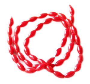 Red coral rice bead string, 6x9mm, 38cm