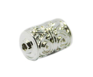 Nickel free double filigree bead, bright silver, 7x12mm