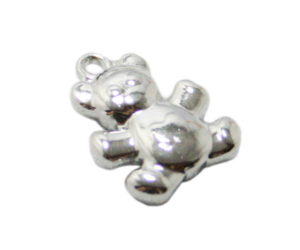 Teddy charm in stainless steel, 15mm