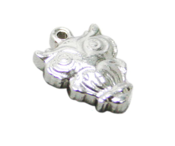 Owl charm in stainless steel, 12mm