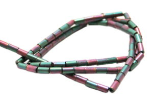 Colored Hematite bead string, matte green/pink, tubes, 3x5mm, 38cm