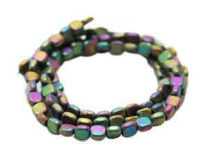 Aura colored Hematite bead string, matte, square buttons, 4mm, 38cm